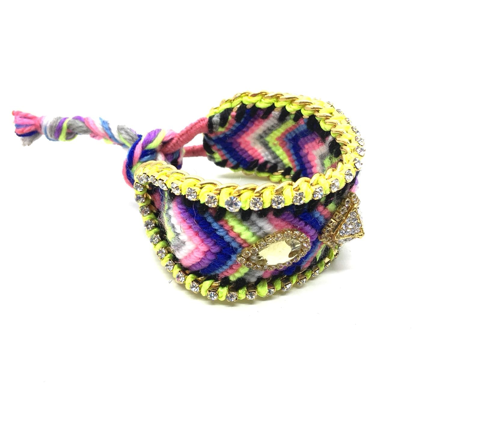 Luxury friendship bracelet- blue yellow mix- yellow crystal- green ribbon
