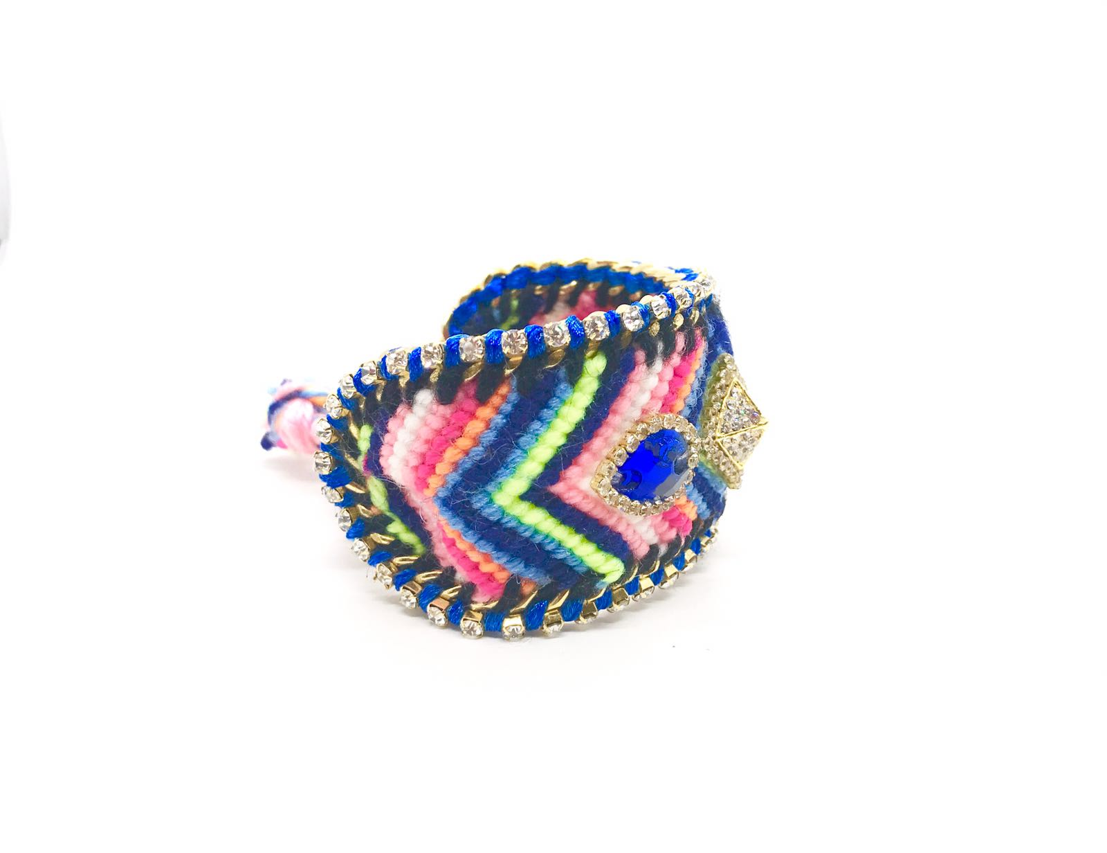Luxury friendship bracelet- blue pink mix- navy and white crystal- blue ribbon