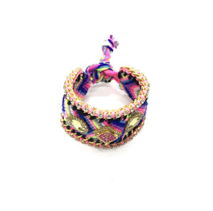 Luxury friendship bracelet- blue yellow mix- yellow crystal- light pink ribbon