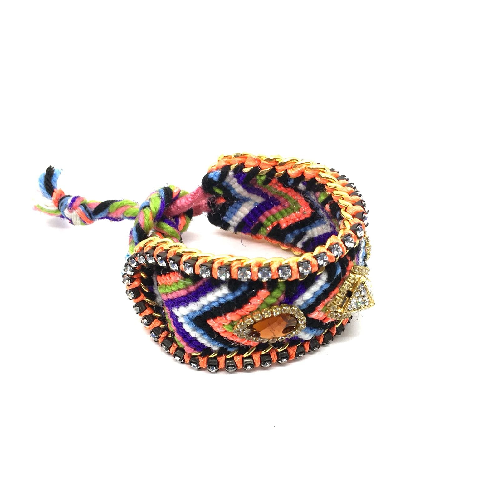 Luxury friendship bracelet- purple orange mix- brown crystal- orange ribbon
