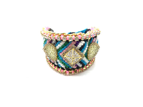 Luxury friendship bracelet- glitter green mix- AB raisin- light pink ribbon