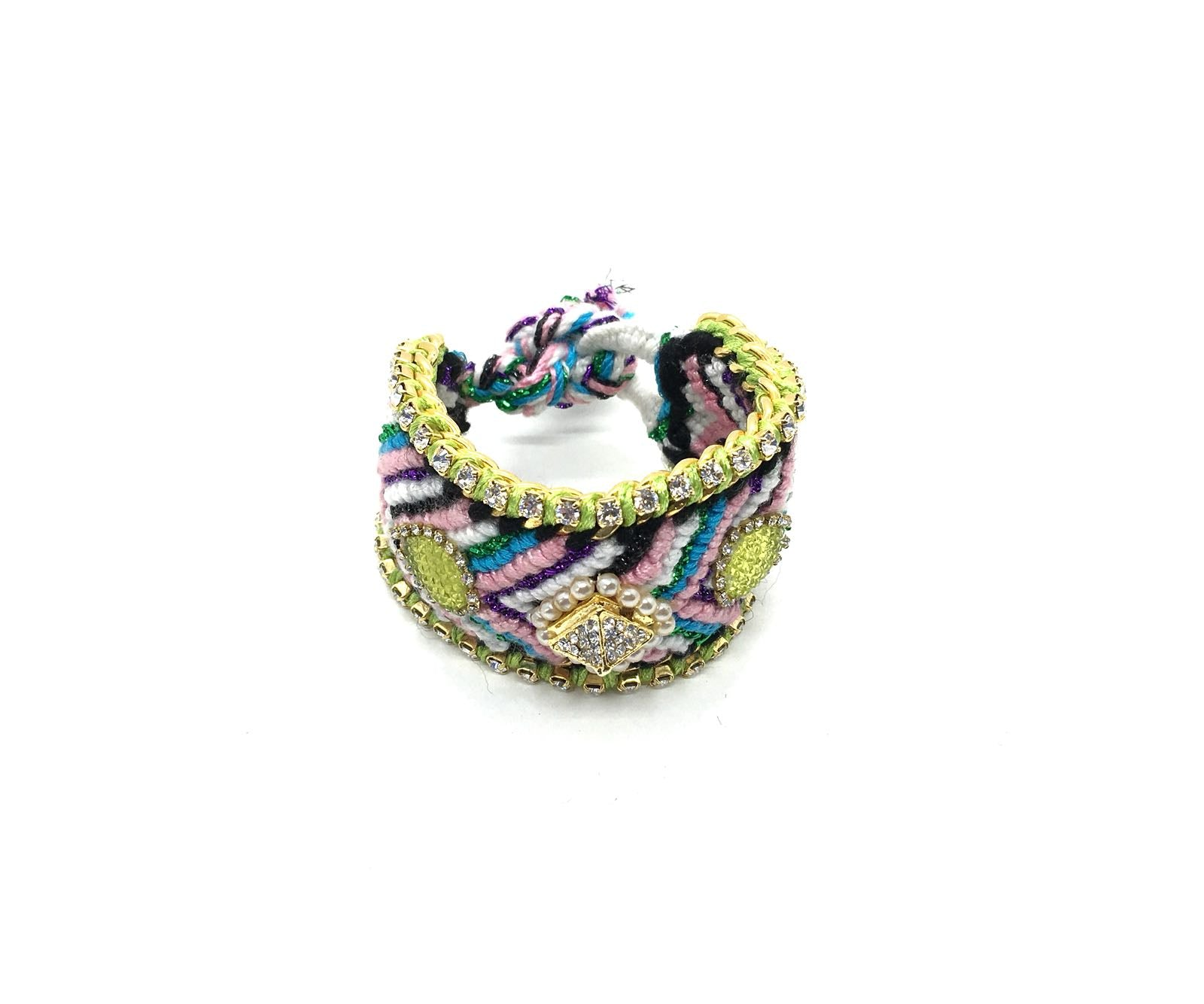 Luxury friendship bracelet- glitter green mix- yellow AB raisin- green ribbon