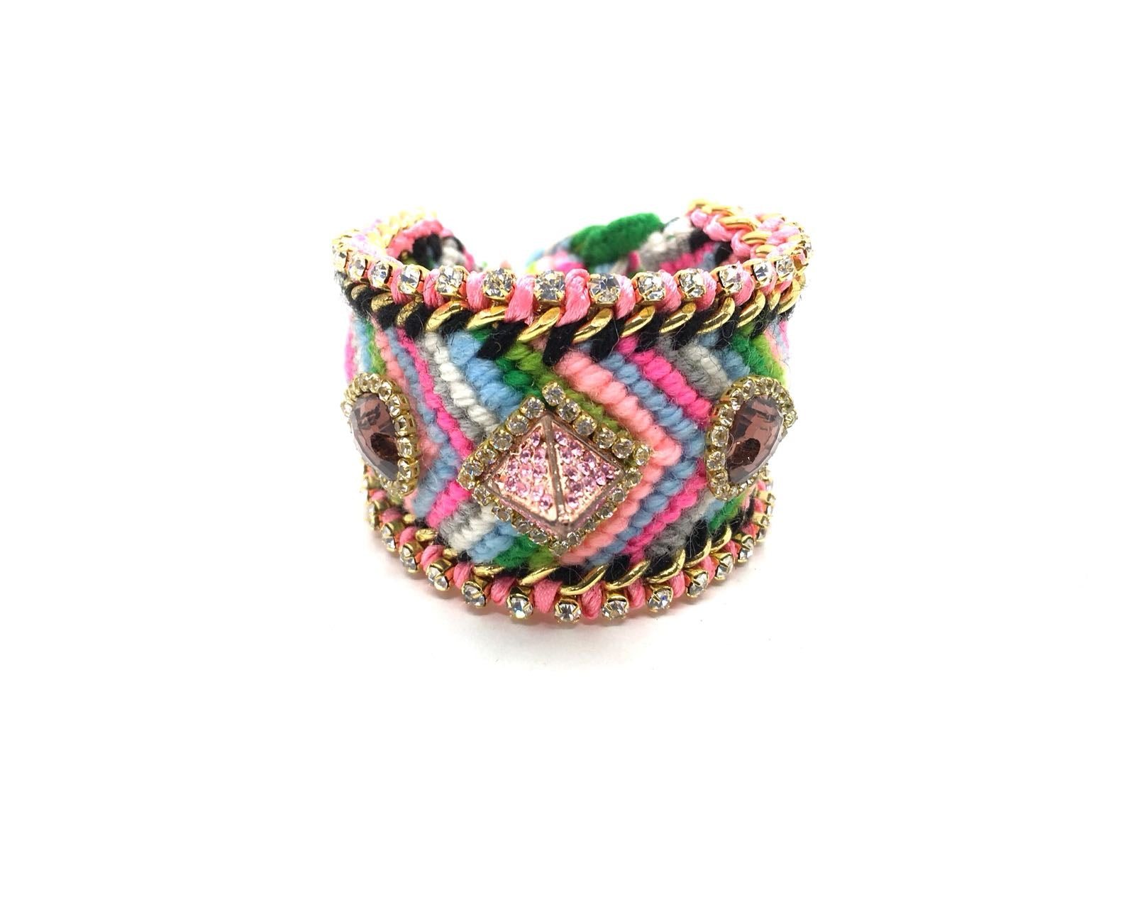 Luxury friendship bracelet- green pink mix- purple crystal- light pink ribbon