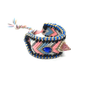 Luxury friendship bracelet- pink white mix- navy crystal- blue ribbon