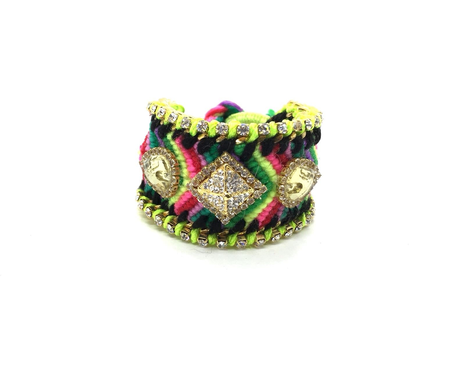 Luxury friendship bracelet- pink yellow mix- yellow crystal- green ribbon
