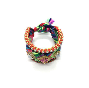 Luxury friendship bracelet- pink yellow mix- AB crystal- red ribbon