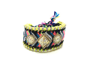 Luxury friendship bracelet- fluorescent rainbow mix- AB raisin- green ribbon