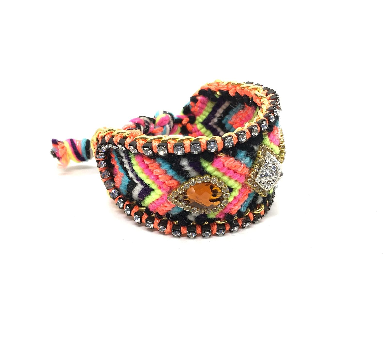 Luxury friendship bracelet- fluorescent rainbow yellow mix- brown crystal- orange ribbon
