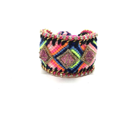 Luxury friendship bracelet- navy pink mix- pink pyramid crystal- pink ribbon