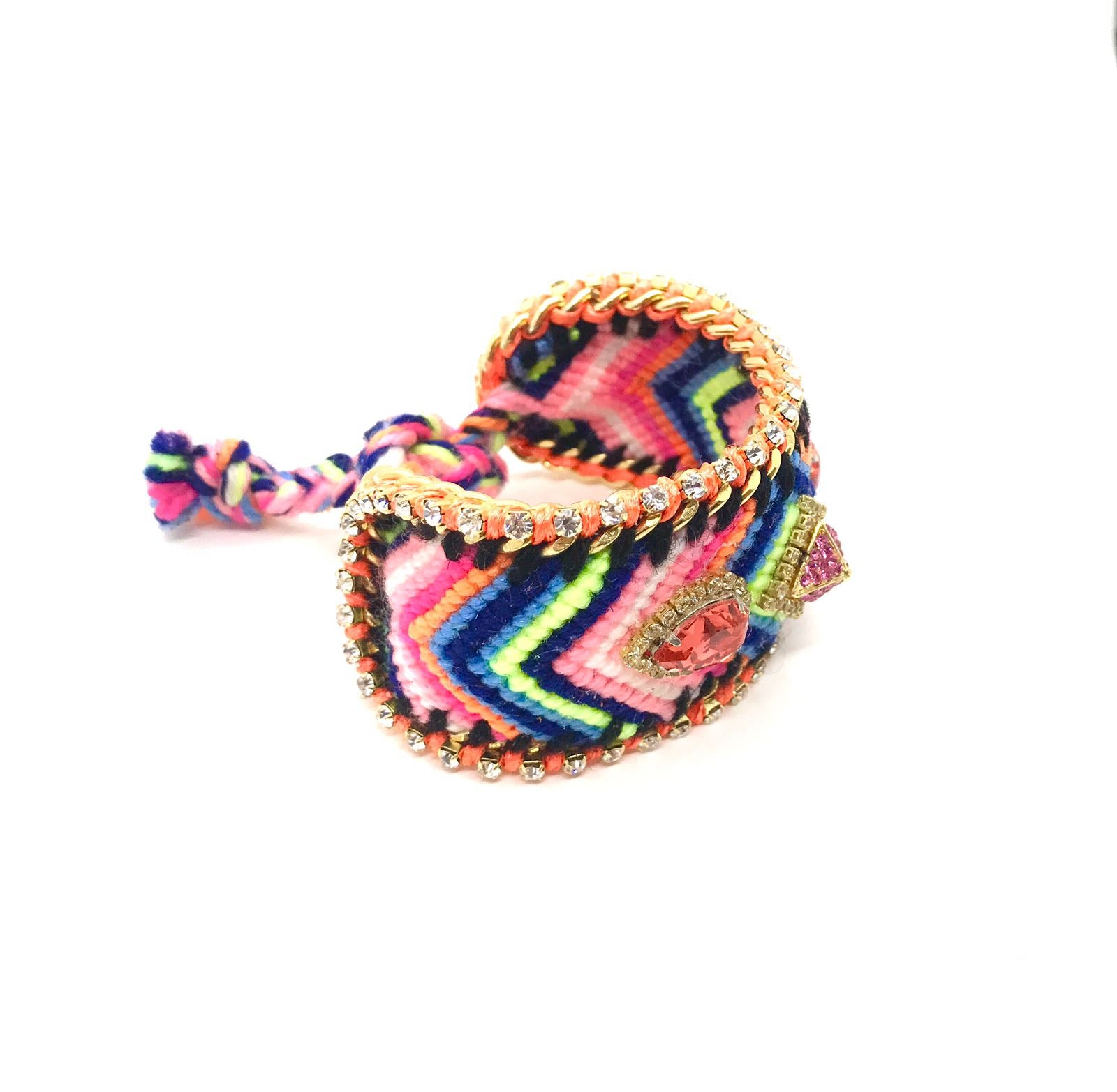 Luxury friendship bracelet- blue pink mix- salmon crystal- orange ribbon
