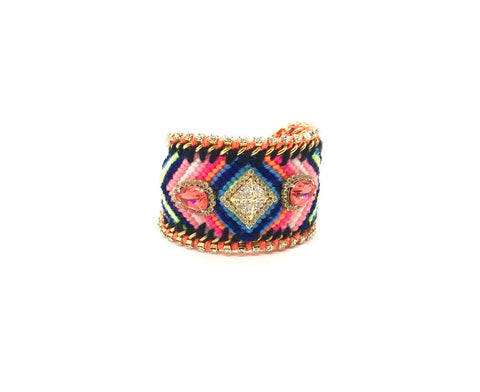 Luxury friendship bracelet- blue pink mix- salmon and white crystal- orange ribbon