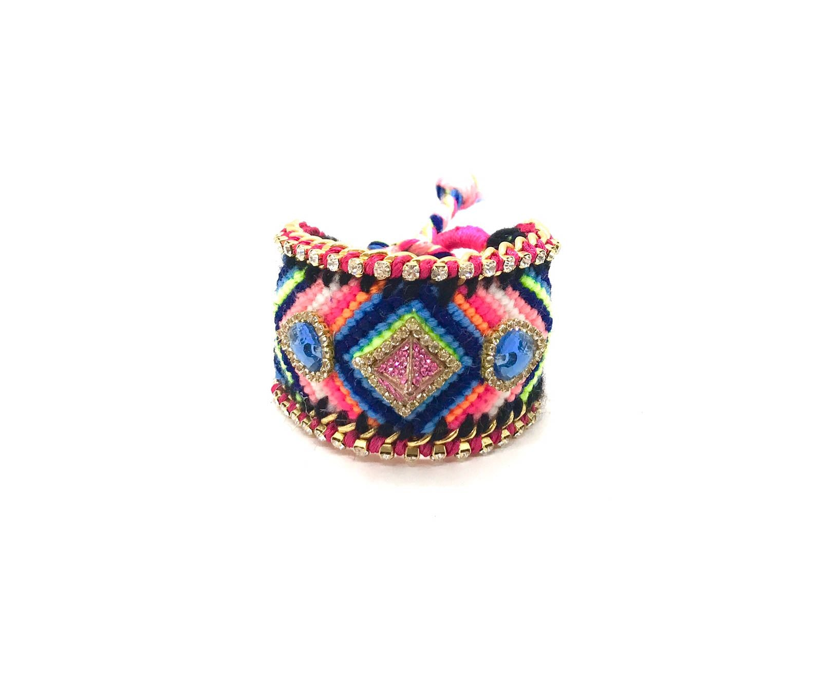 Luxury friendship bracelet- blue pink mix- light blue crystal- pink ribbon