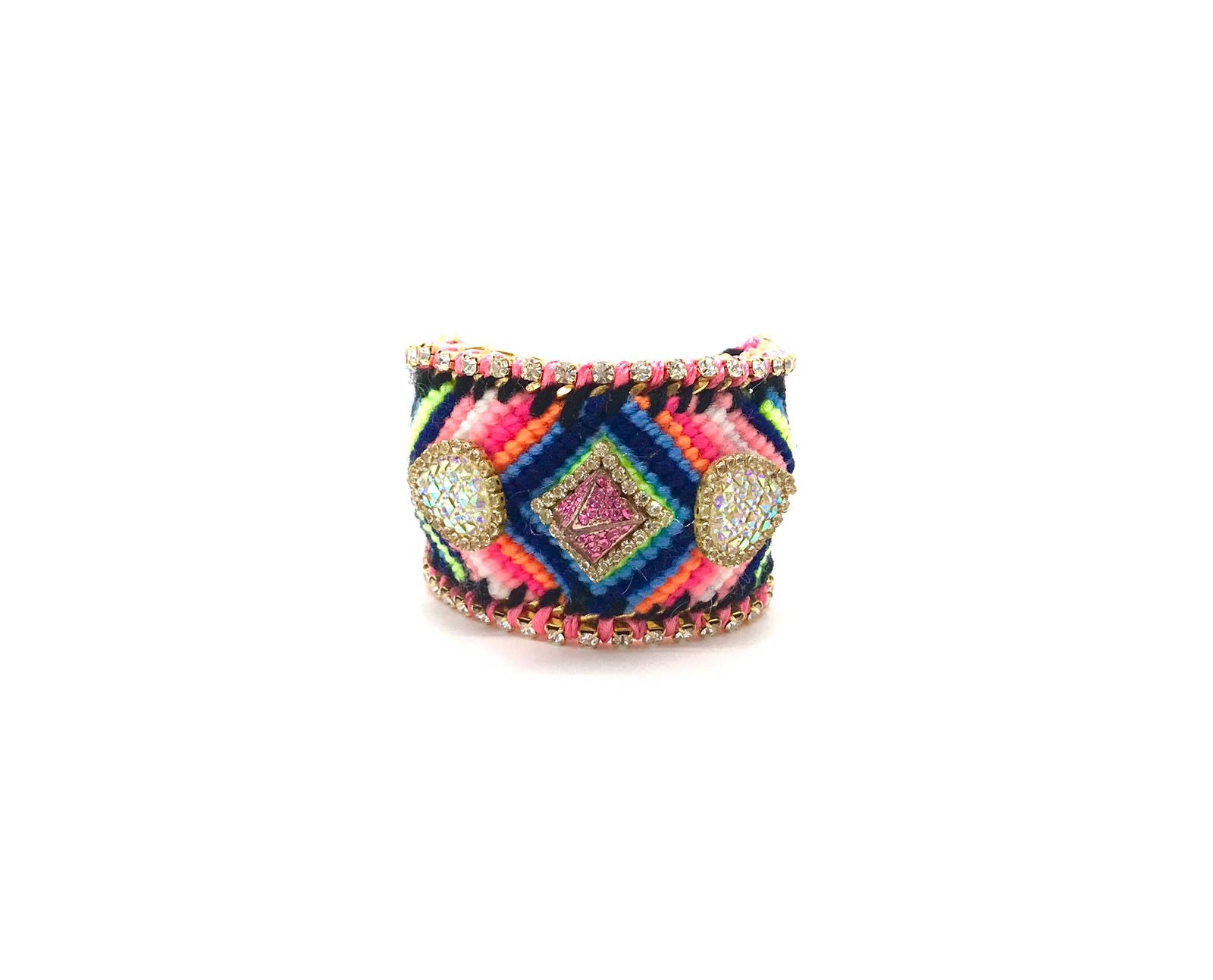 Luxury friendship bracelet- blue pink mix- AB raisin- pink ribbon