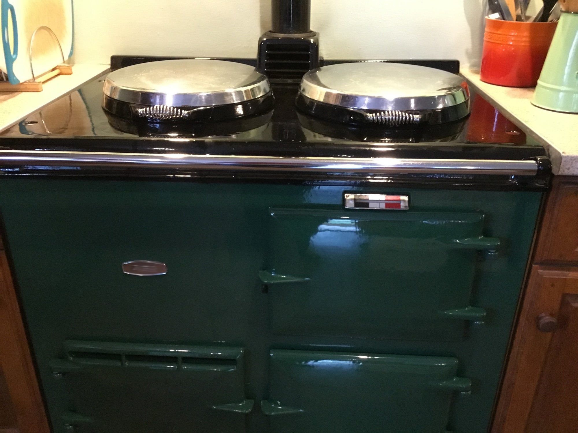 Before & after cleaning a green Aga range cooker