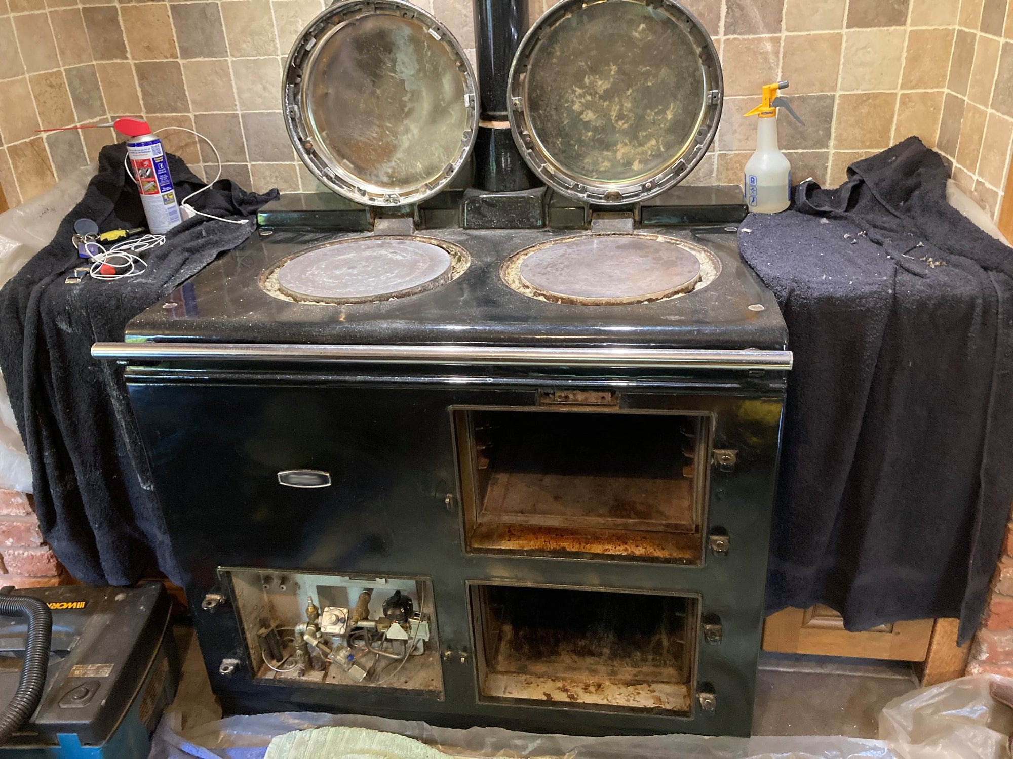 Black Aga range cooker after mini-refurb & deep clean