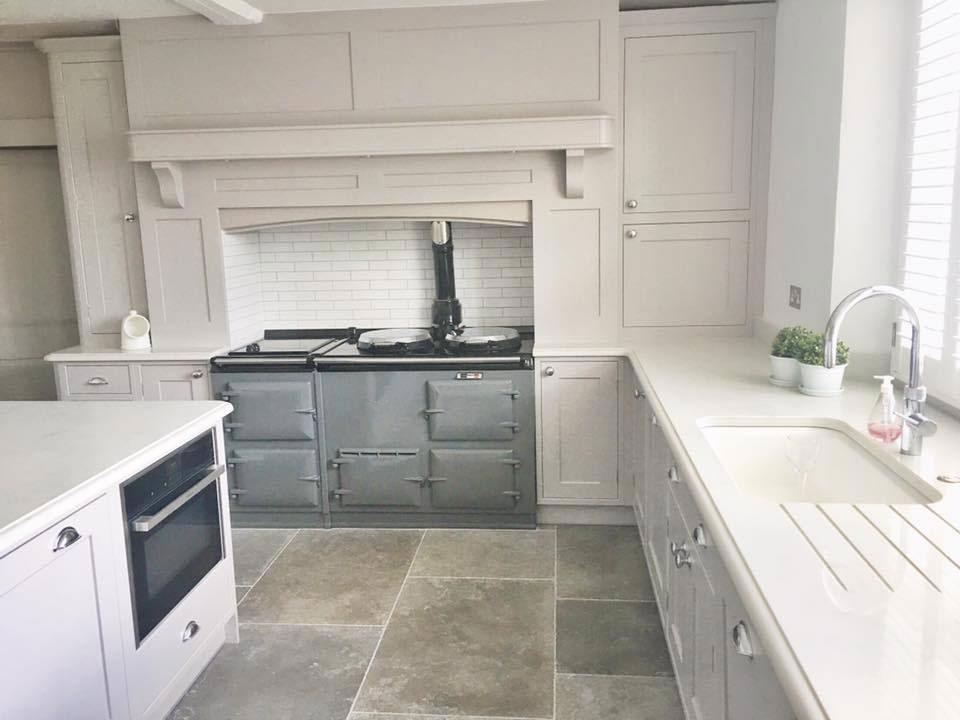 Grey Aga range cooker reenamelled and kitchen finished!