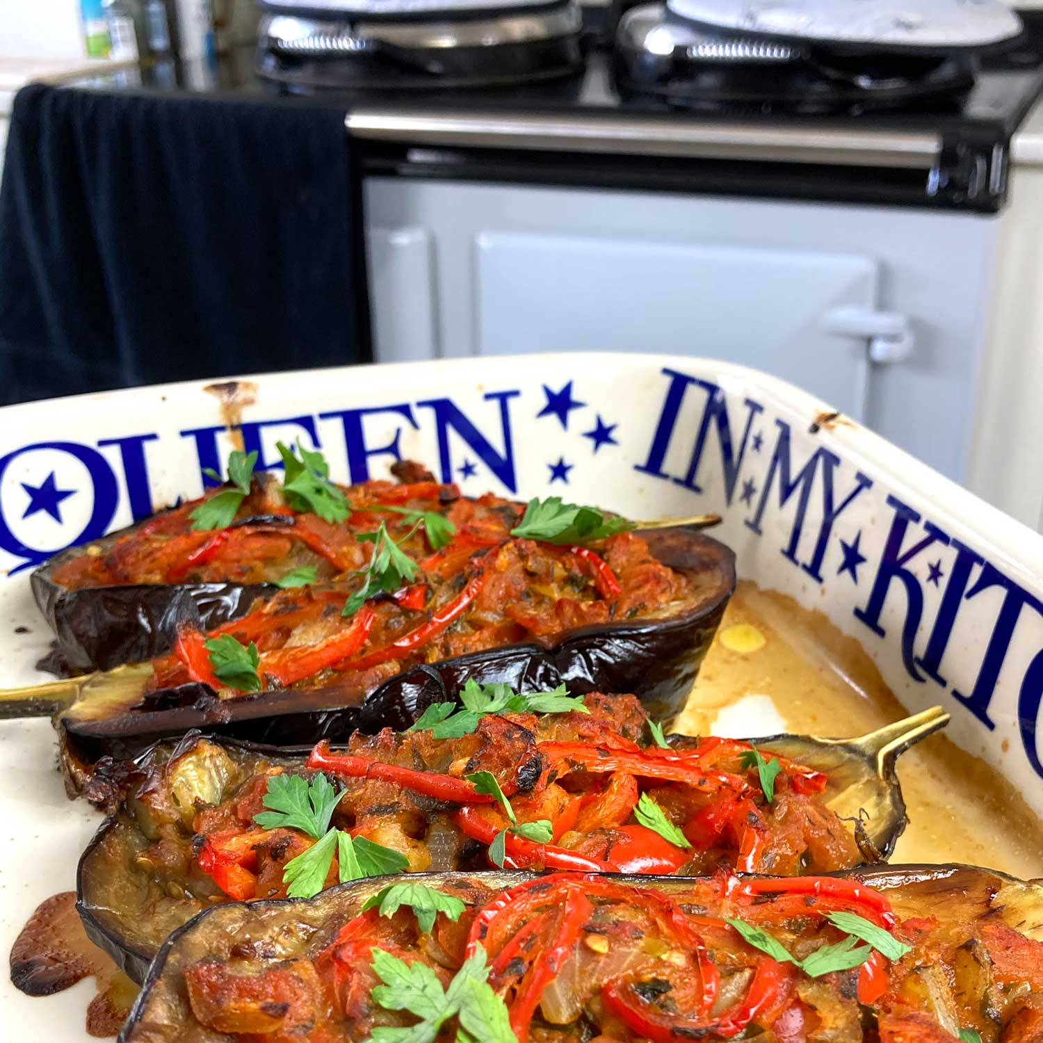 Imam Bayildi (Turkish stuffed aubergines)