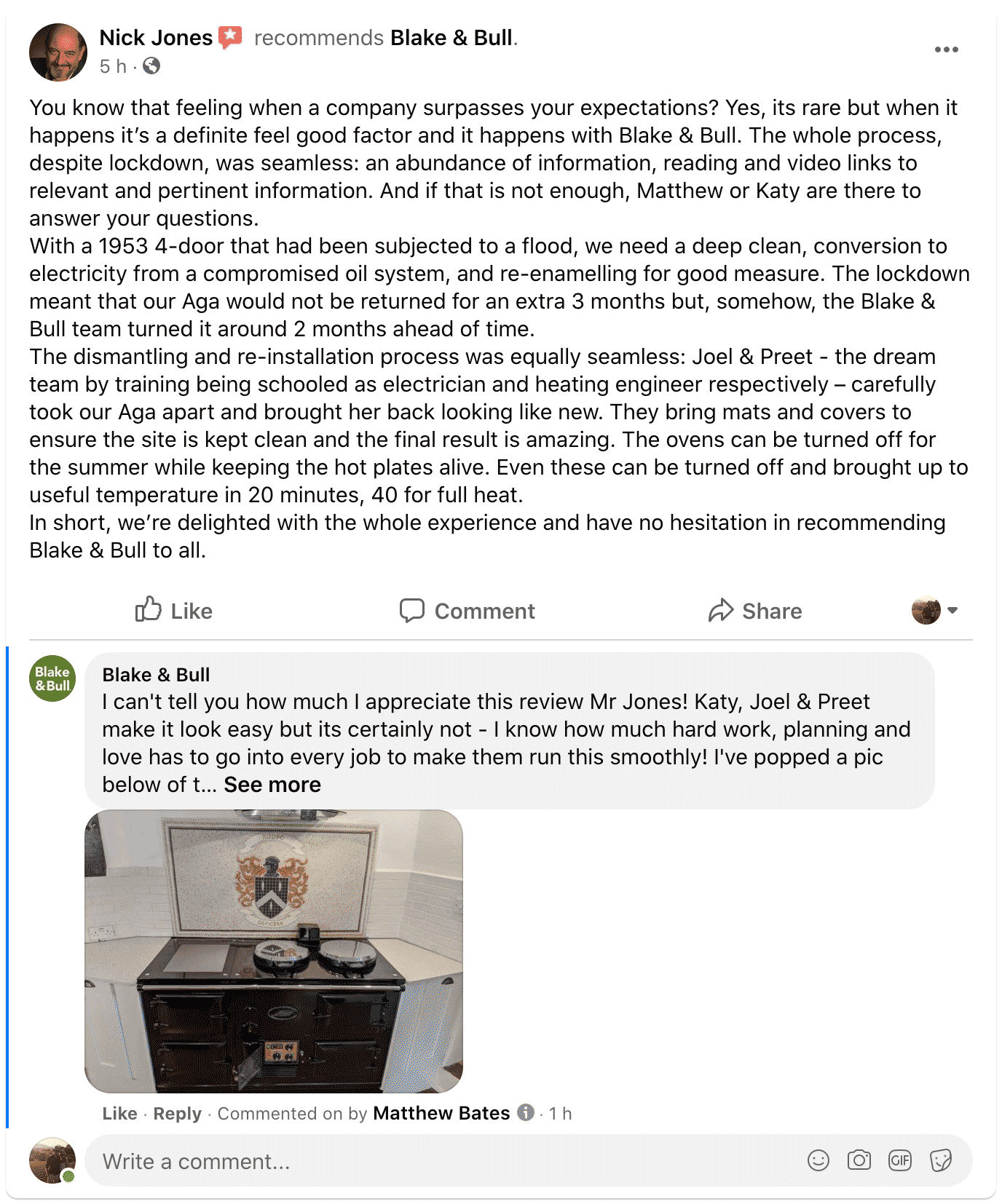 Amazing review of Blake & Bull re-enamelling and conversion of Aga range cookers