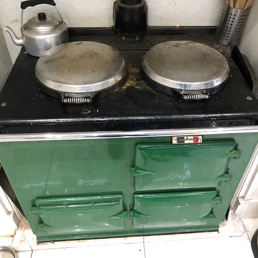A Matching Pup & Cooker - A Blake & Bull Re-enamel (Green To White)