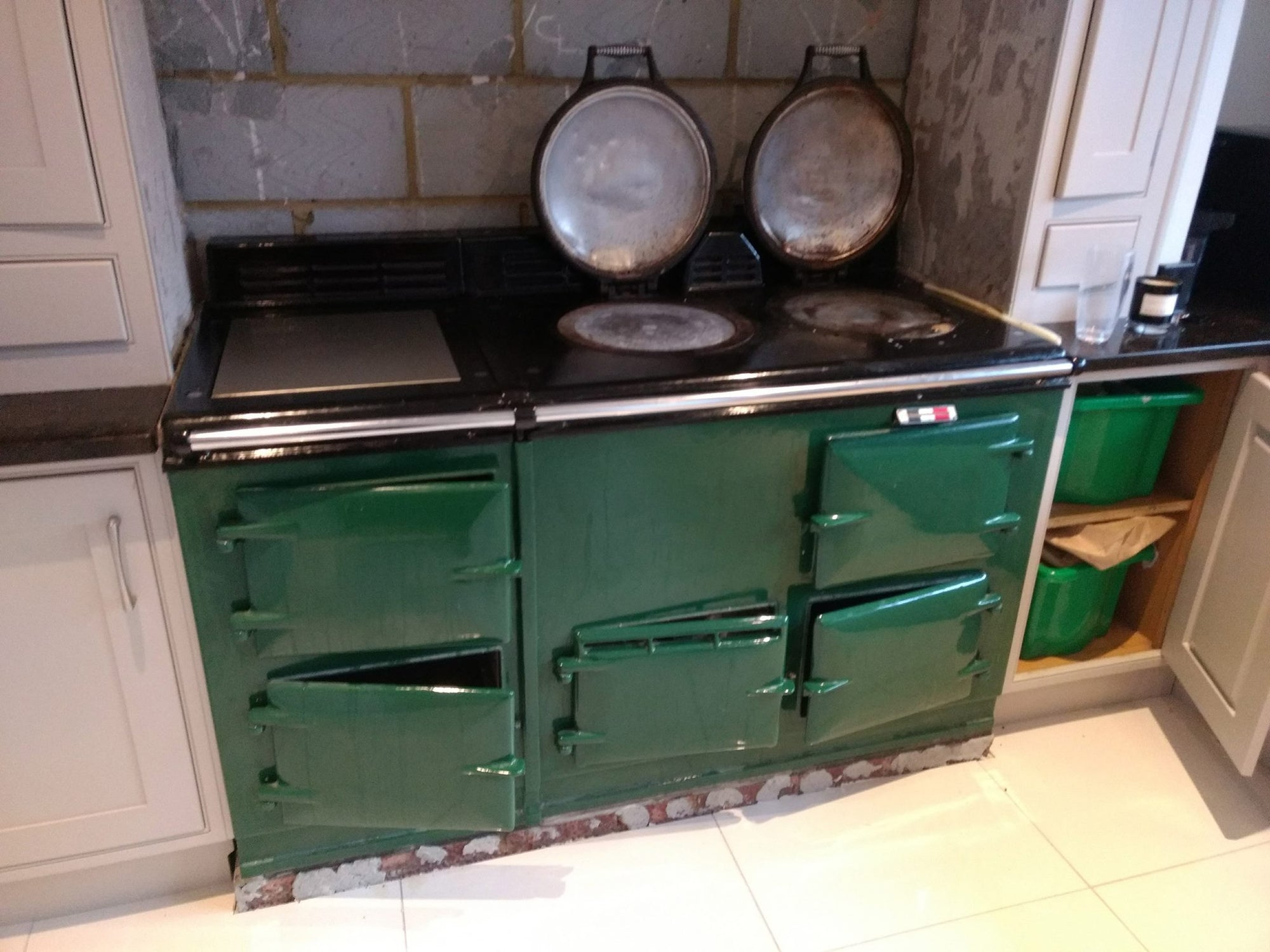 Green Aga range cooker re-enamelled to dark pewter