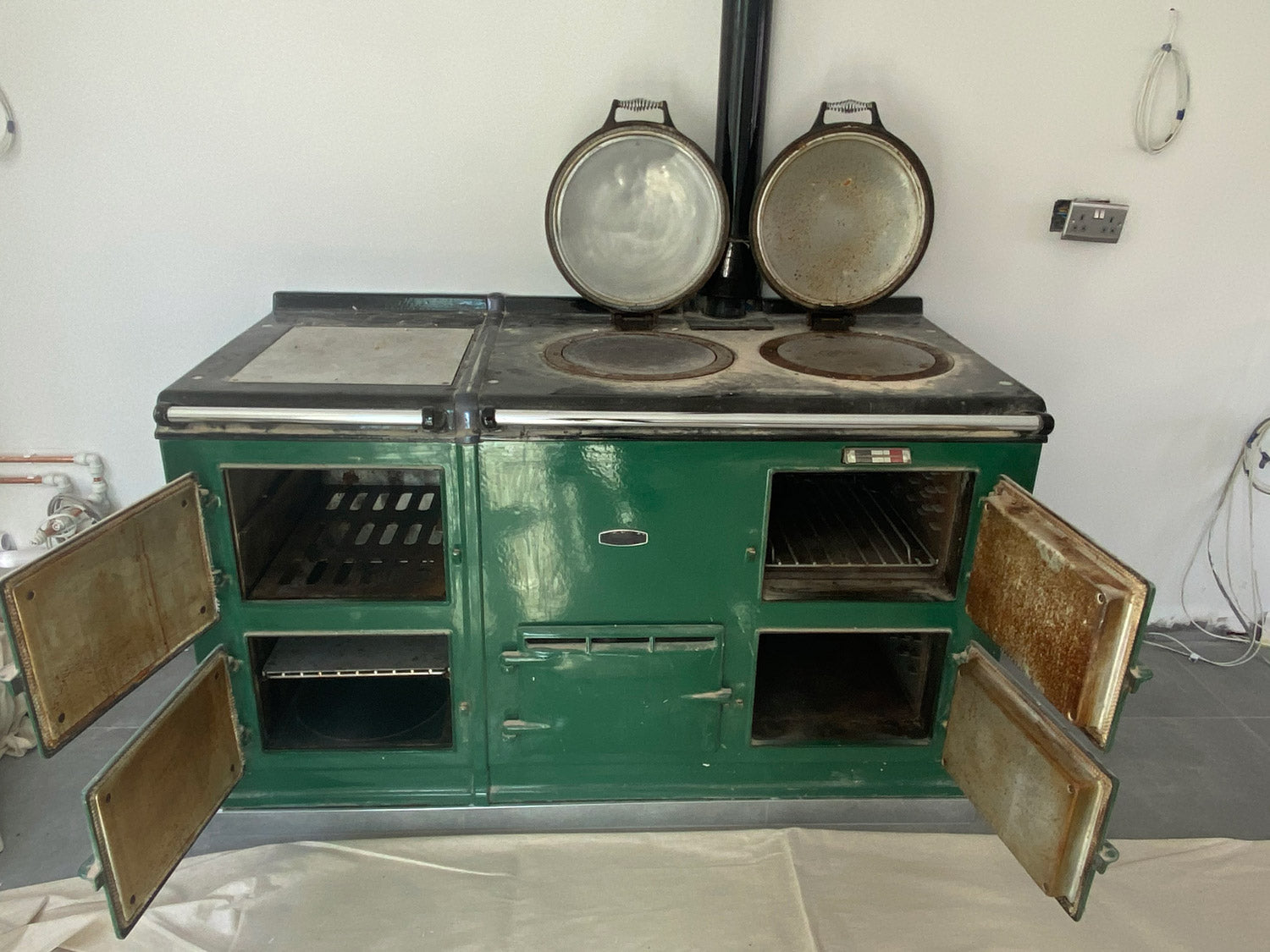 British Racing Green Aga range cooker re-enamelled
