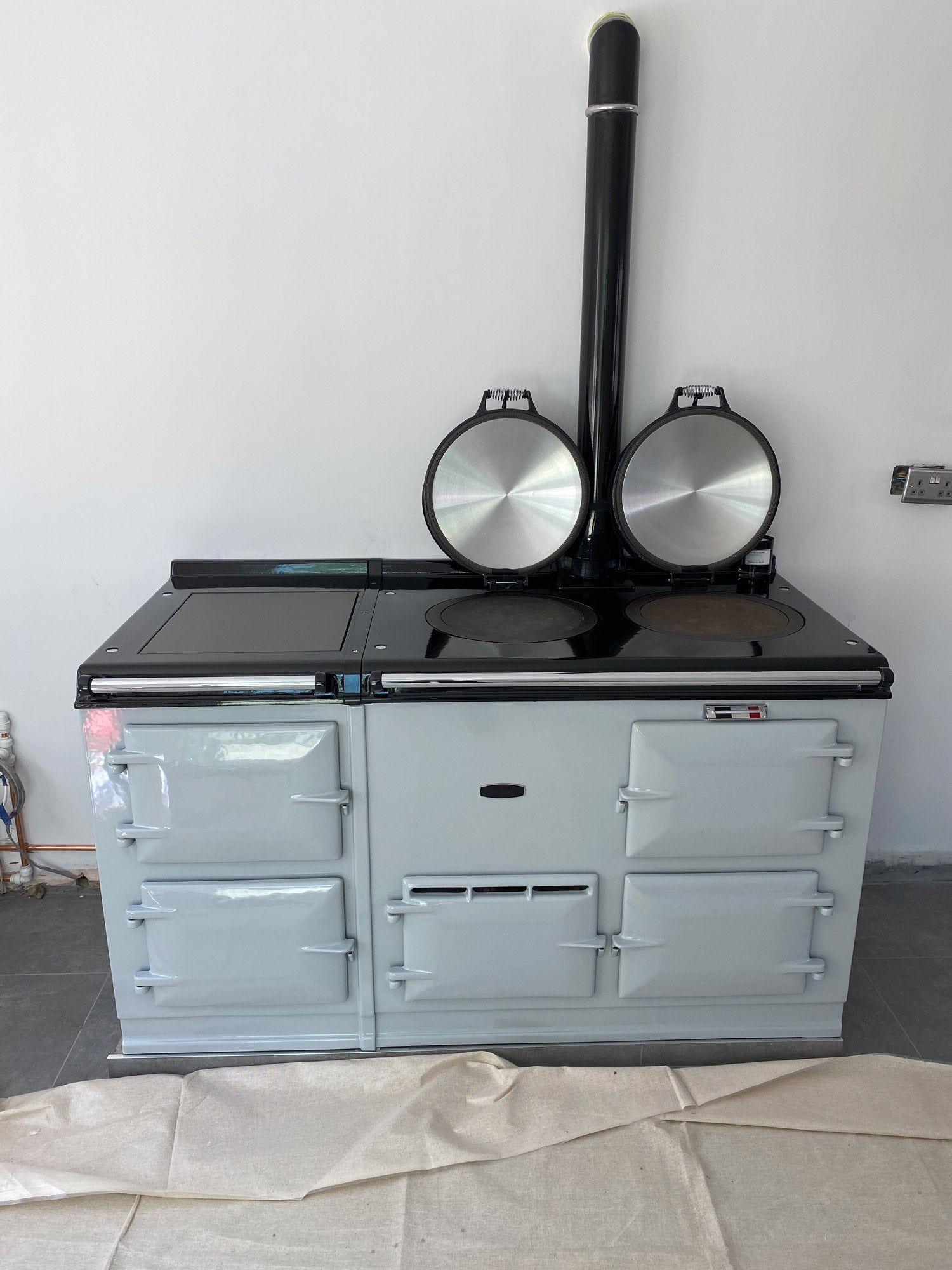 British Racing Green Aga range cooker re-enamelled in Light Grey