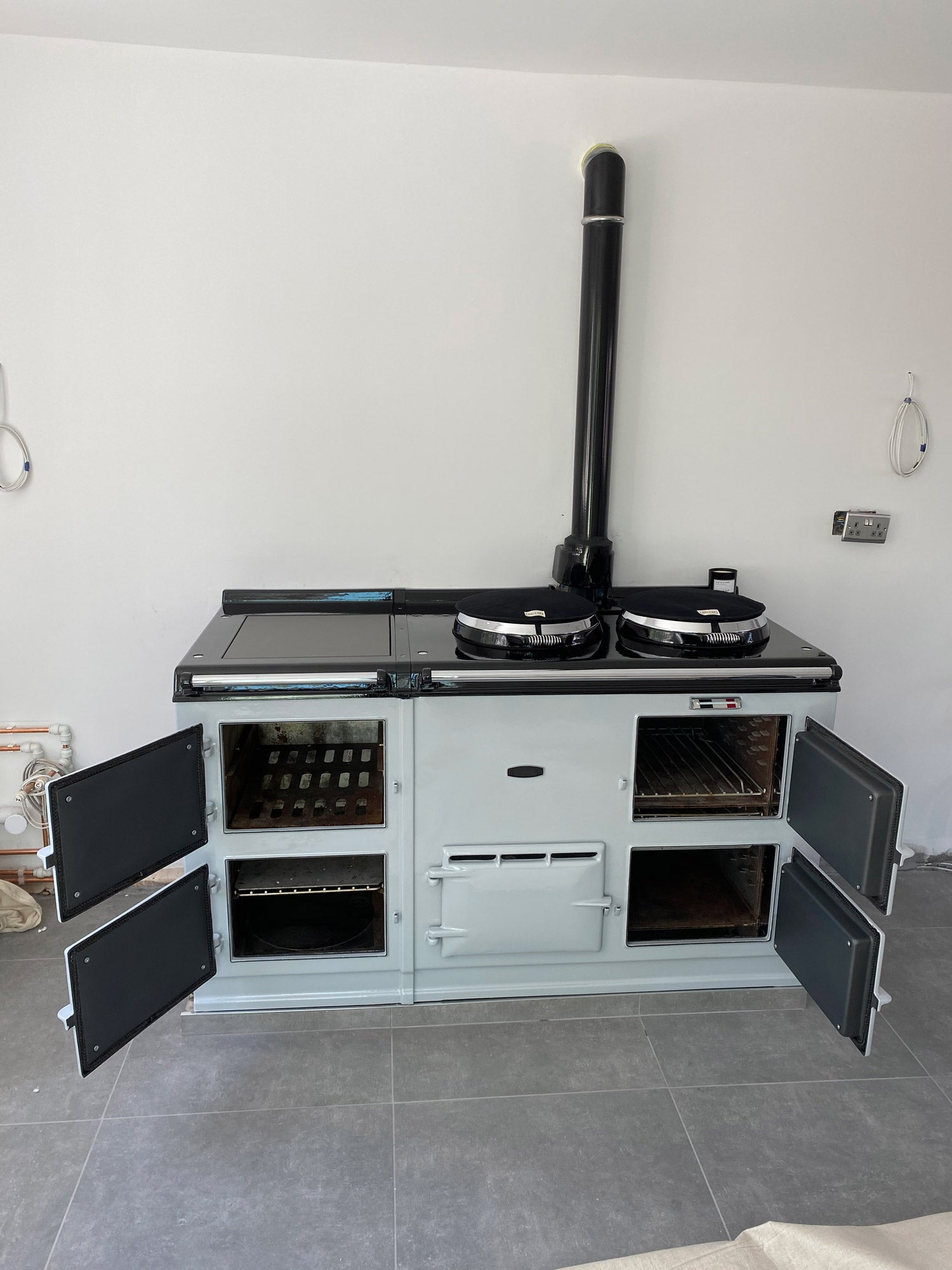 Light Grey Aga range cooker re-enamelled