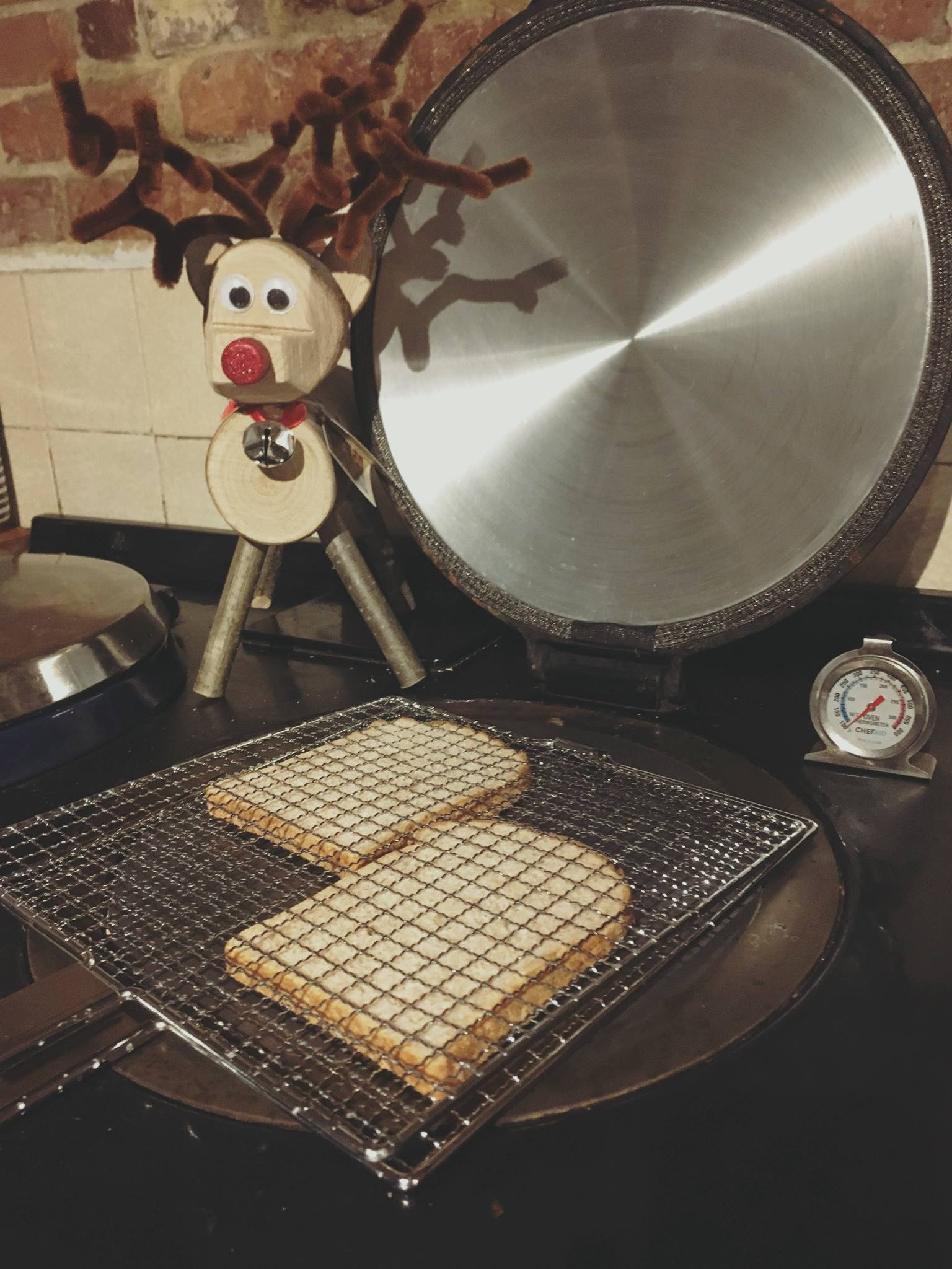 Toast being made on Aga range cooker
