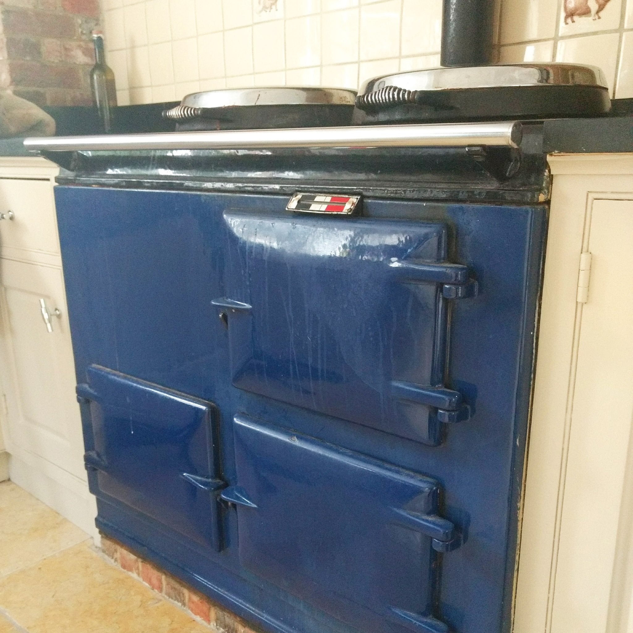 Blue Aga range cooker with streaked front