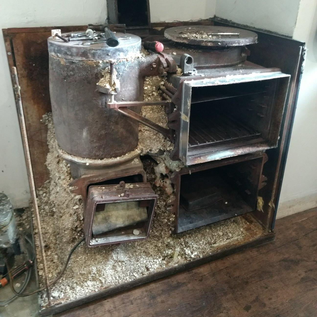 Aga range cooker with front removed during re-enamelling