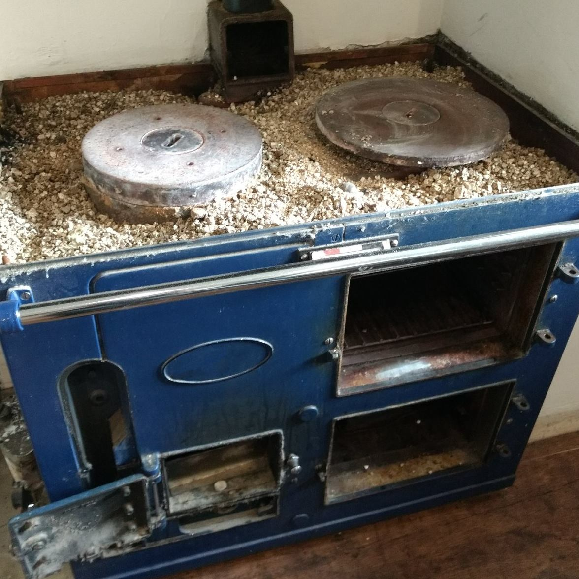 Aga range cooker with hob and lids removed