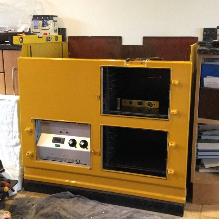 Golden yellow Aga range cooker front