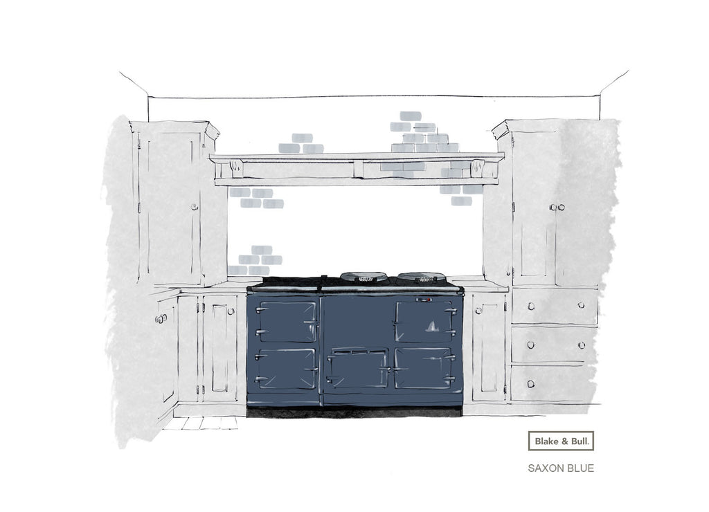 Saxon Blue re-enamelled Aga range cooker by Blake & Bull