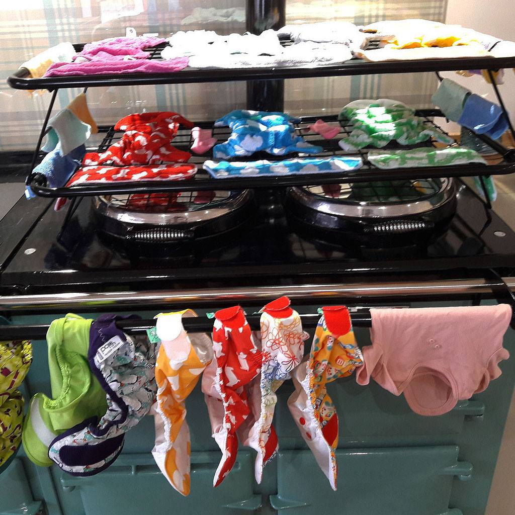 How to dry real cloth fabric terry nappies on an Aga range cooker with a drying rack from Blake and Bull