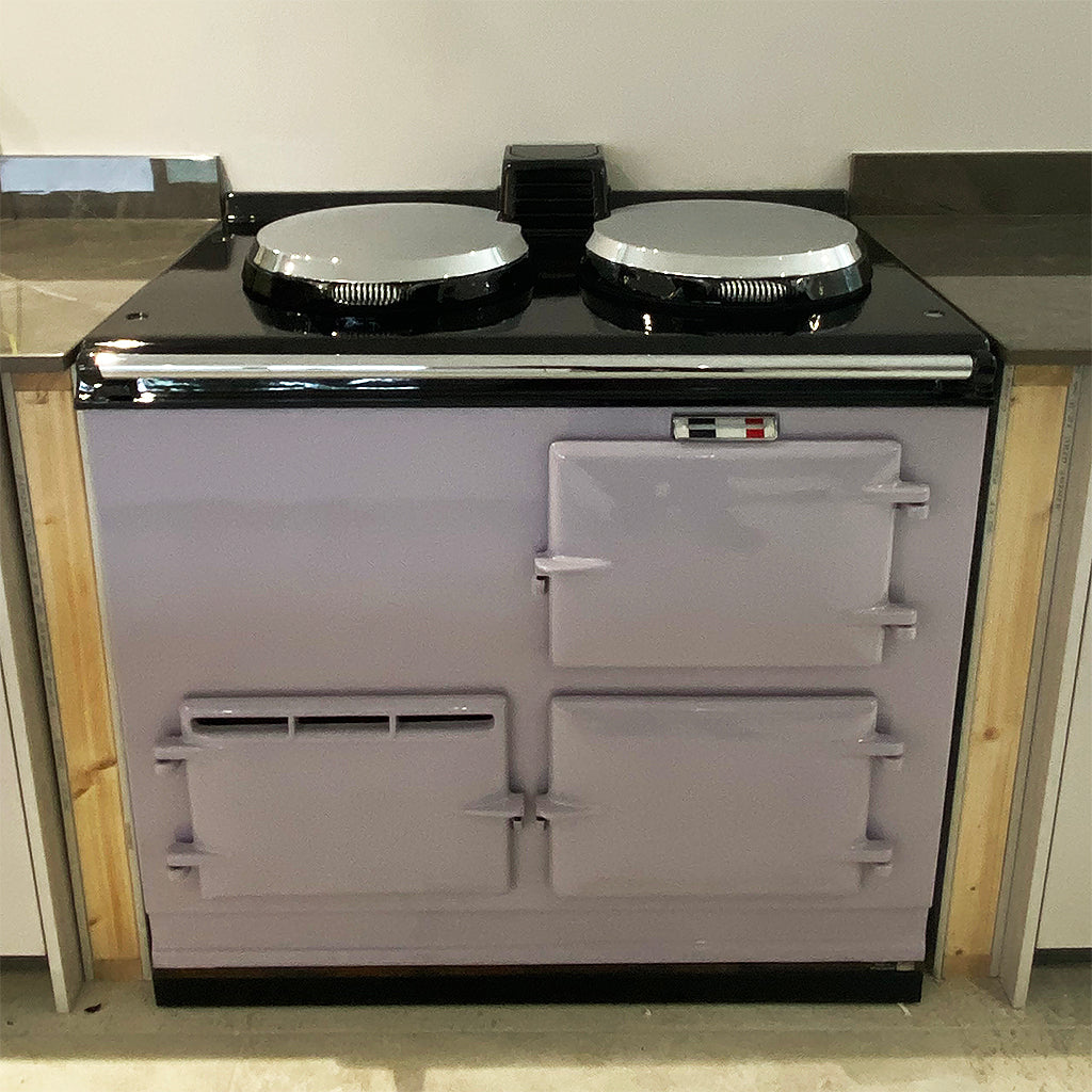 A heather purple lilac pastel aga range cooker re-enamelled in vitreous enamel and converted to electric by Blake and Bull UK