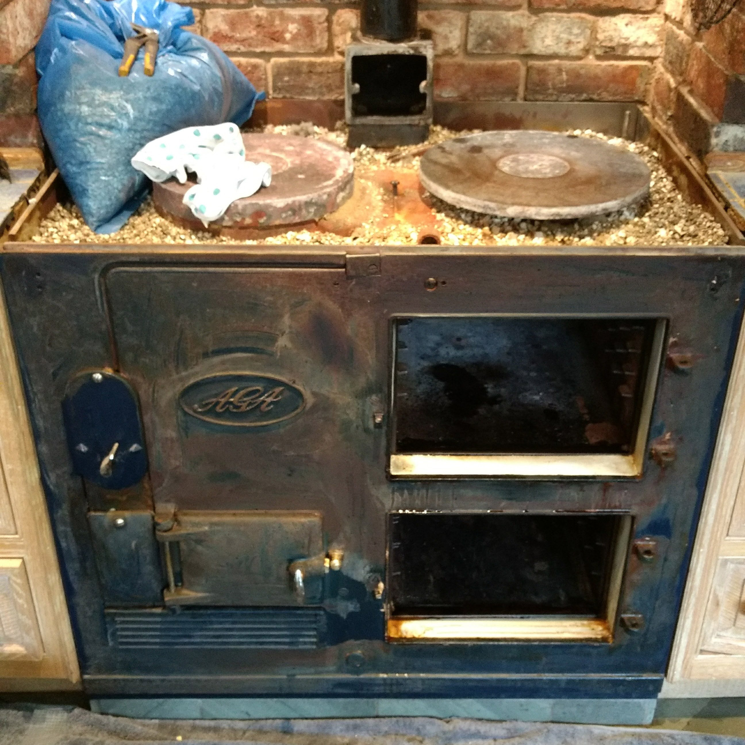 Resurfaced Aga front lid hob off