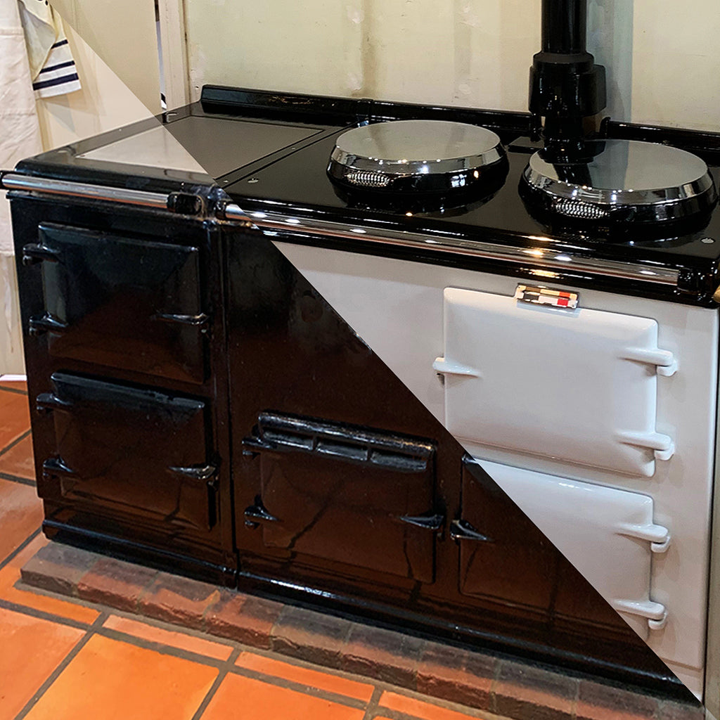 Re-enamelling service in vitreous enamel suitable for Aga range cookers Refurbishment and re-enamel of an Aga range cooker by Blake and Bull Uk