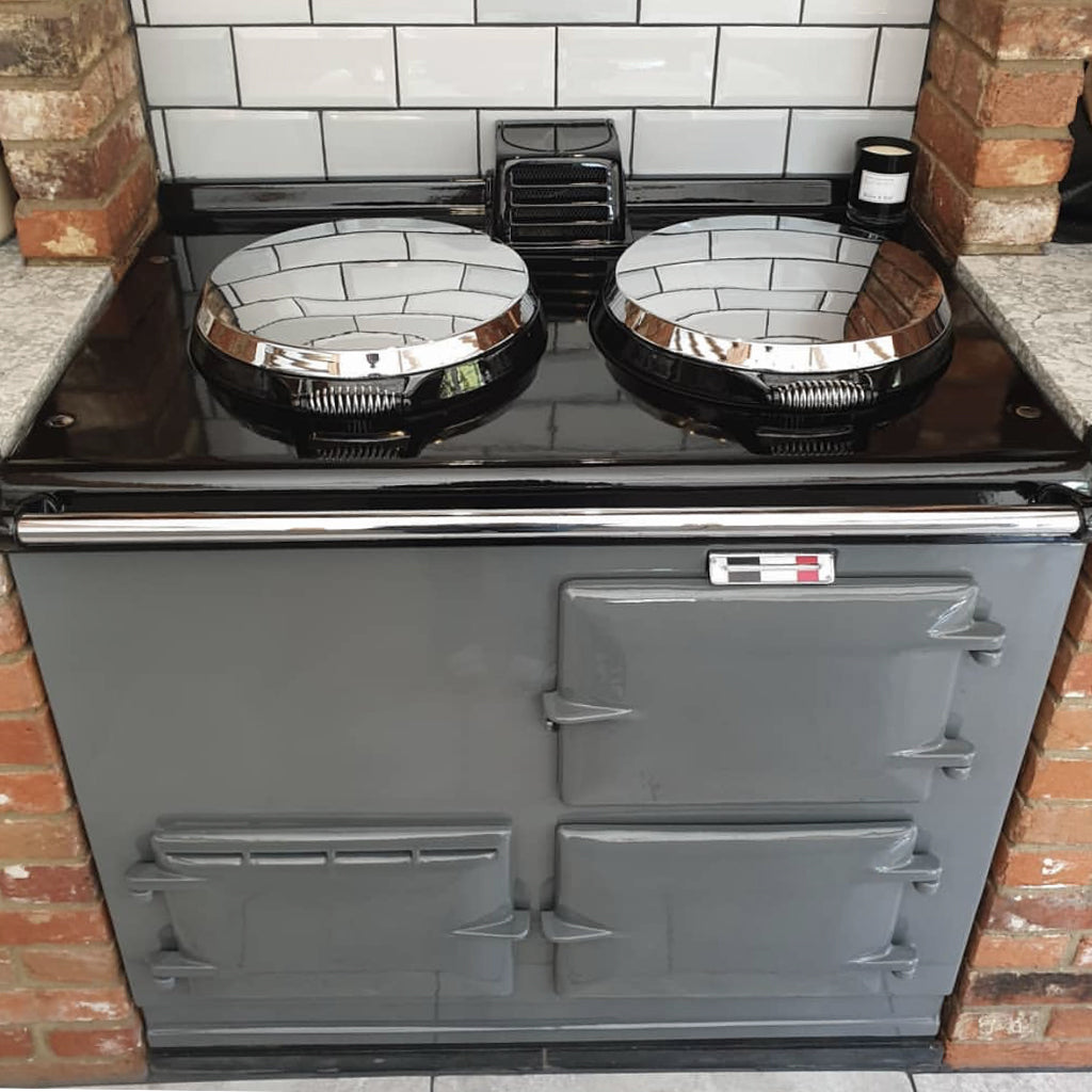 Supreme grey dark grey re-enamelled Aga range cooker by Blake and Bull uk