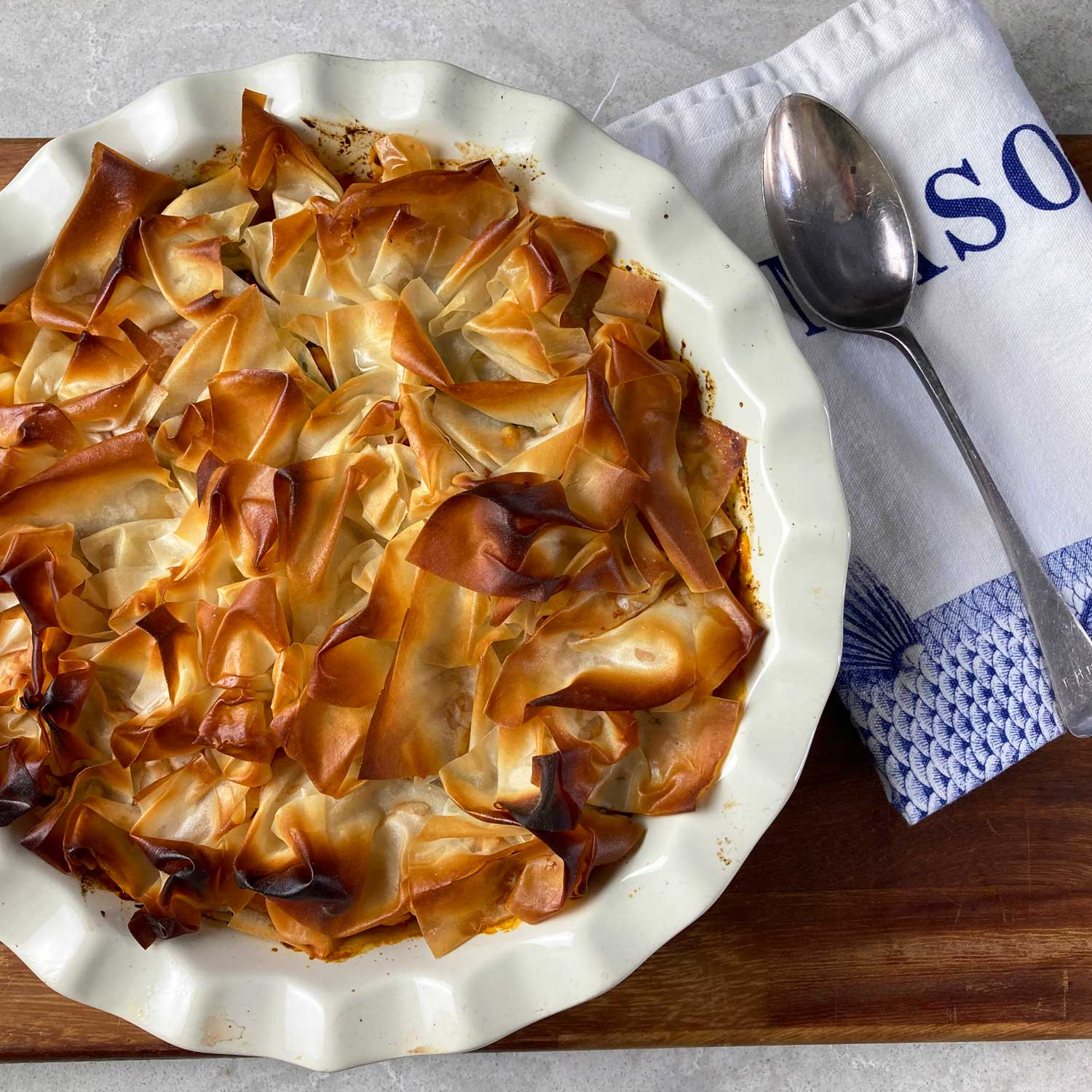 Butternut squash, spinach and chickpea filo pie for Aga range cookers