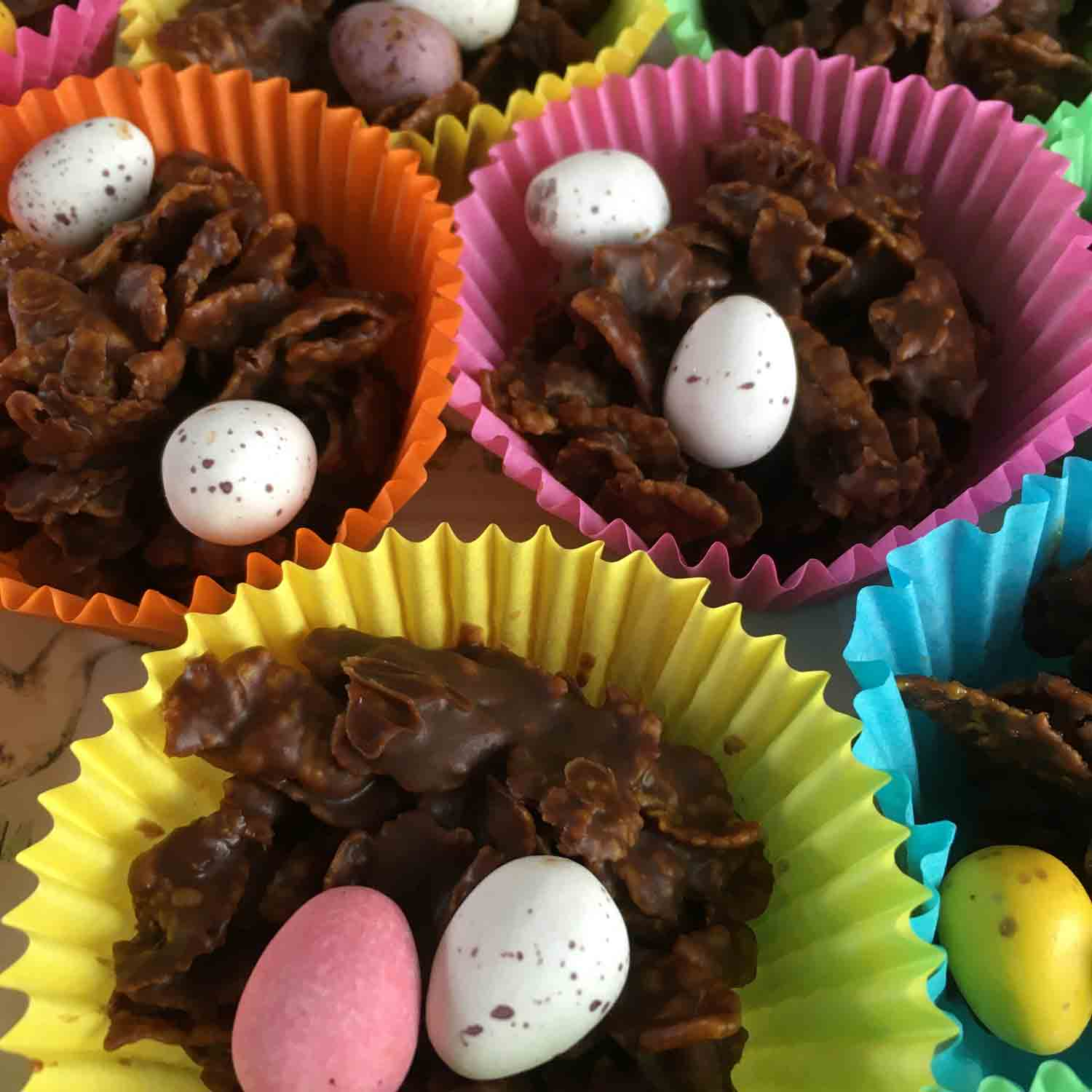 Chocolate crispy nest cakes with instructions for use with Aga range cookers