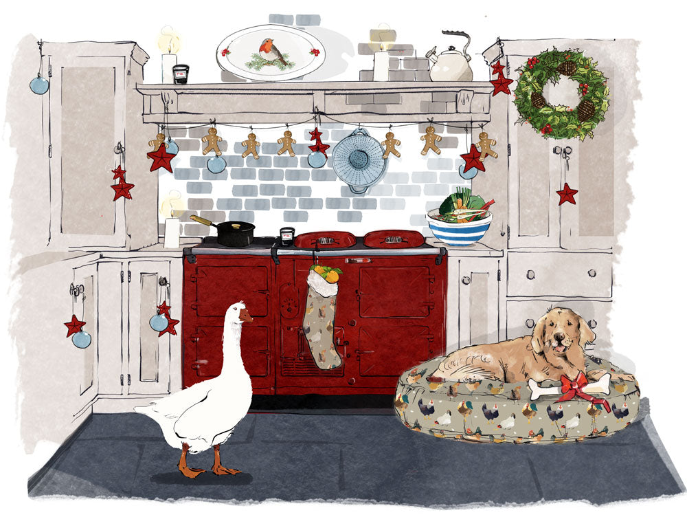 Illustration of red Aga range cooker with Christmas decorations all around!