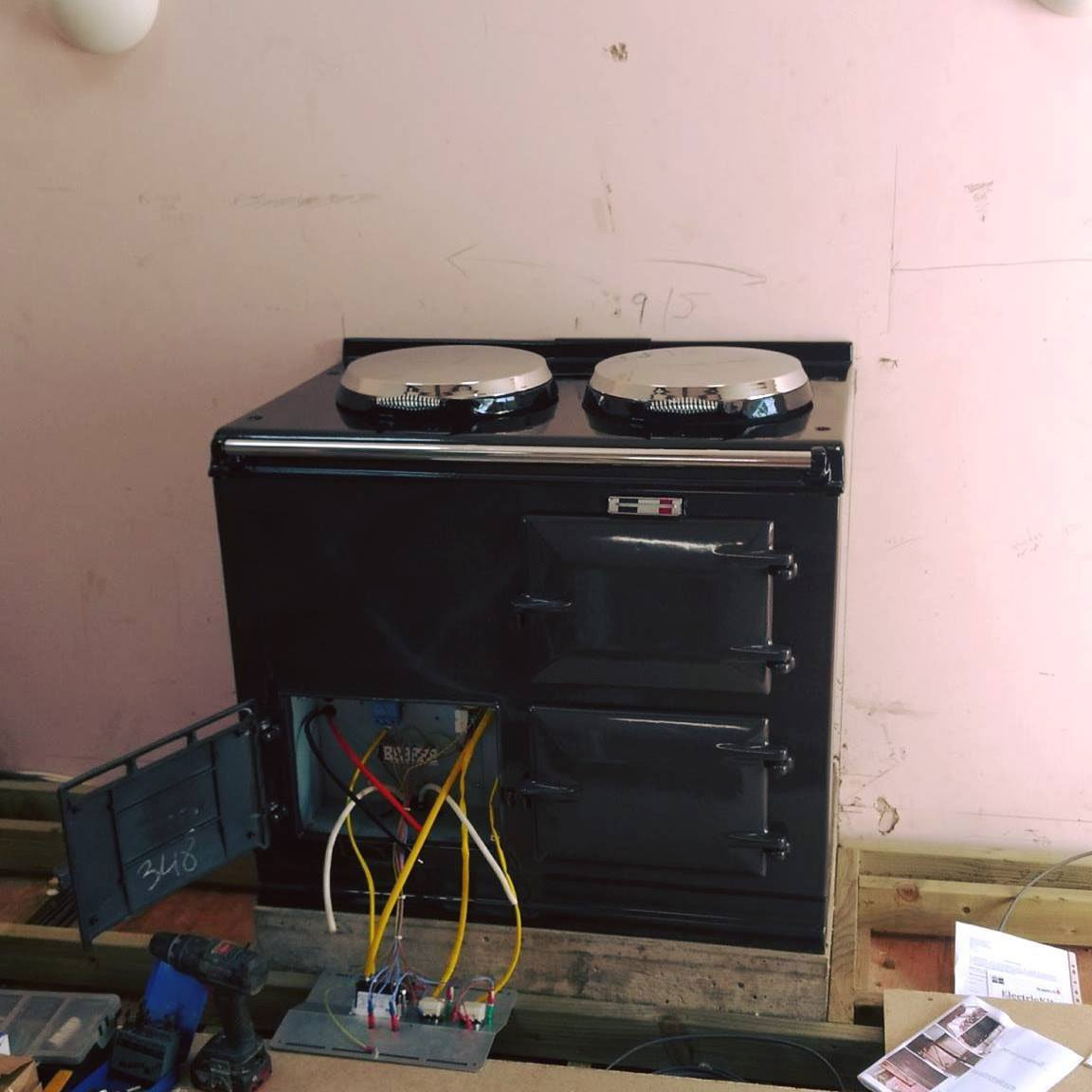 Aga range cooker in process of conversion