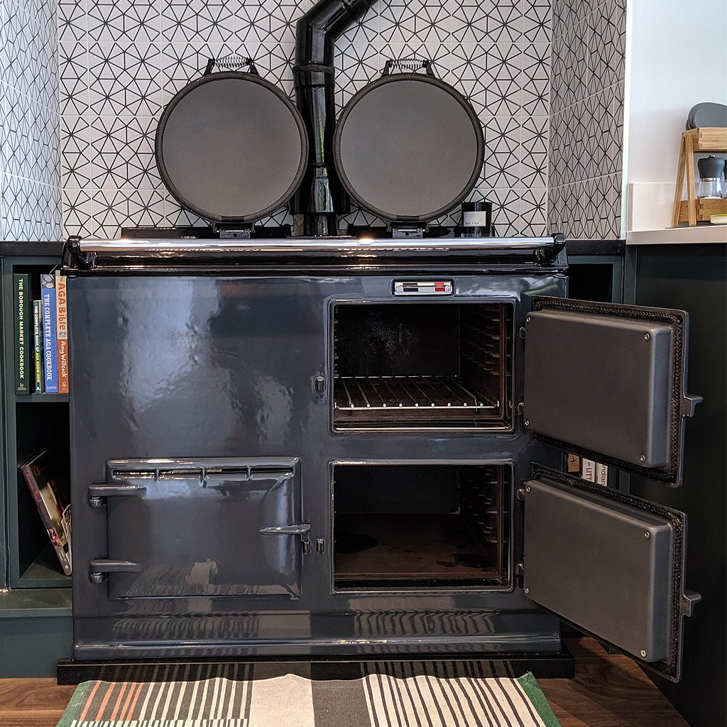 A graphite grey re-enamelled aga range cooker 2 oven by Blake and Bull