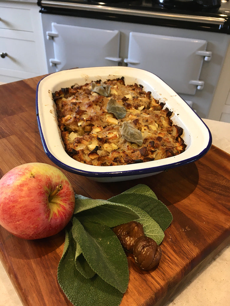 How to make Apple chestnut and sage stuffing in an Aga range cooker