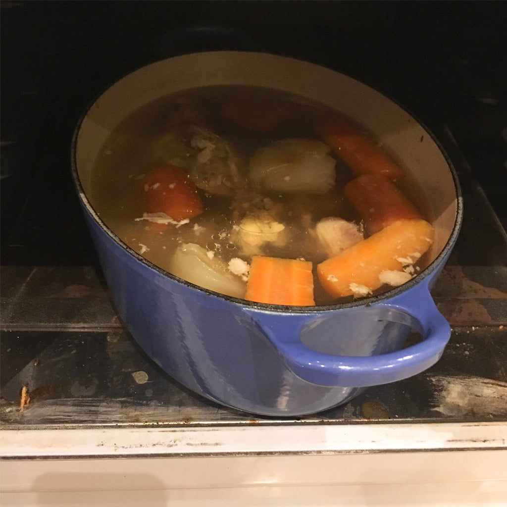 How to make stock overnight in the simmering oven of an Aga Range cooker