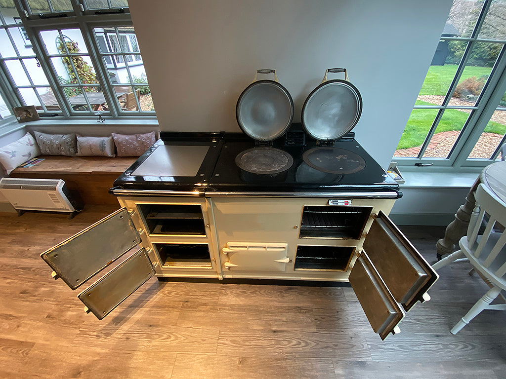 A cream 4 oven Aga range cooker before its blake and bull re-enamel - a new colour on an old aga range cooker