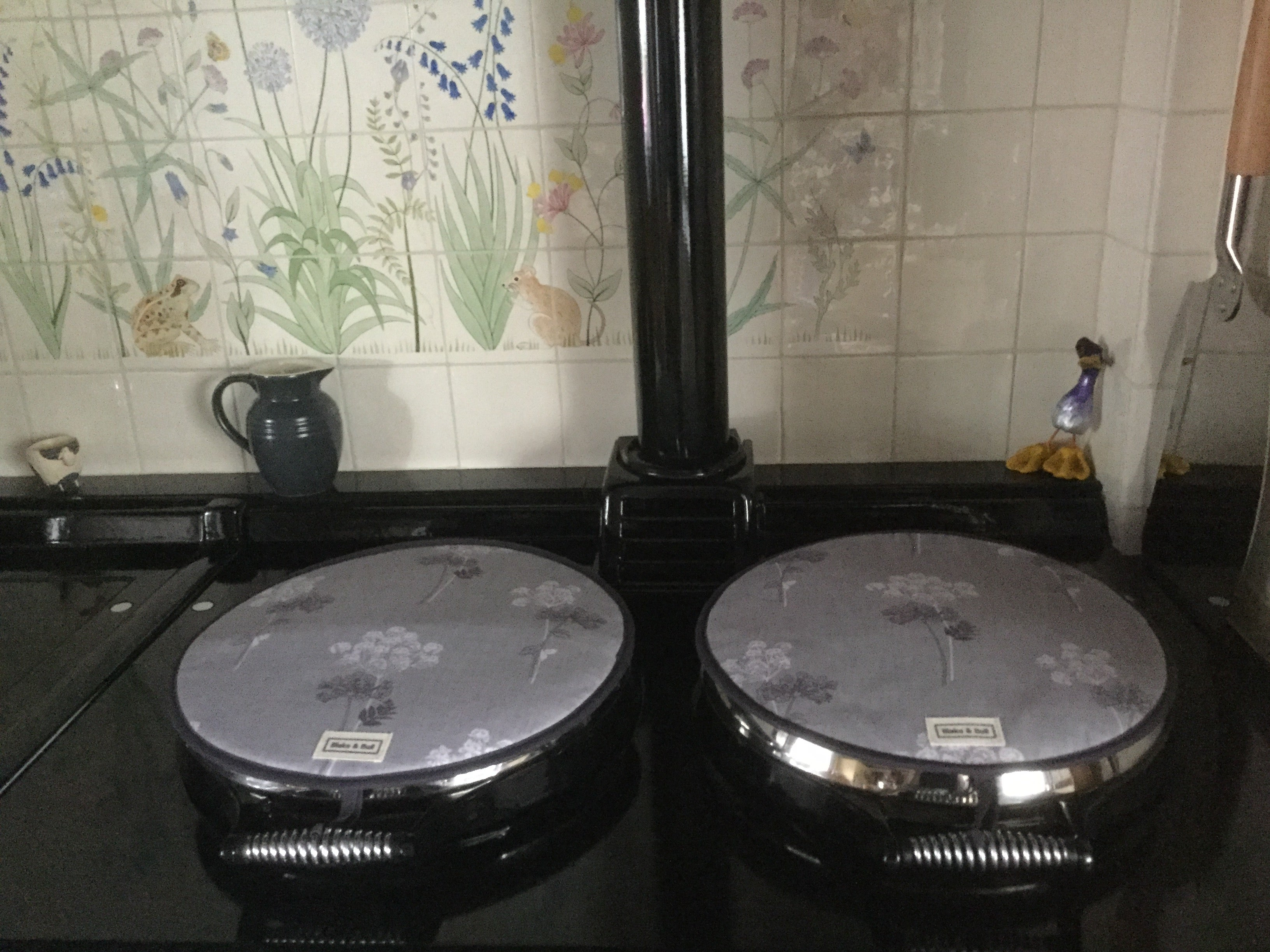 Cow parsley hob covers on Aga range cooker