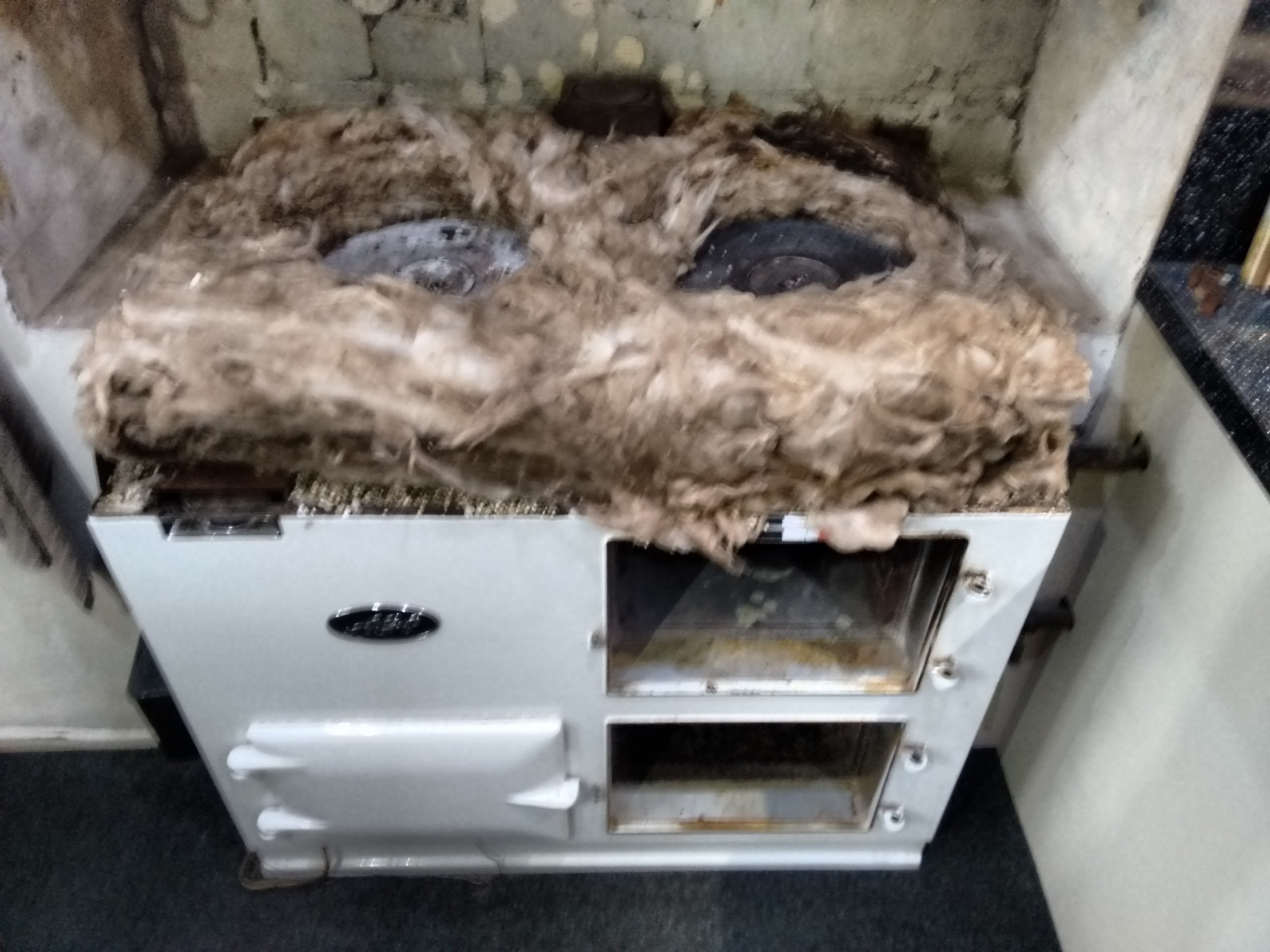 Re-insulated AGA with new rock wool and vermiculite