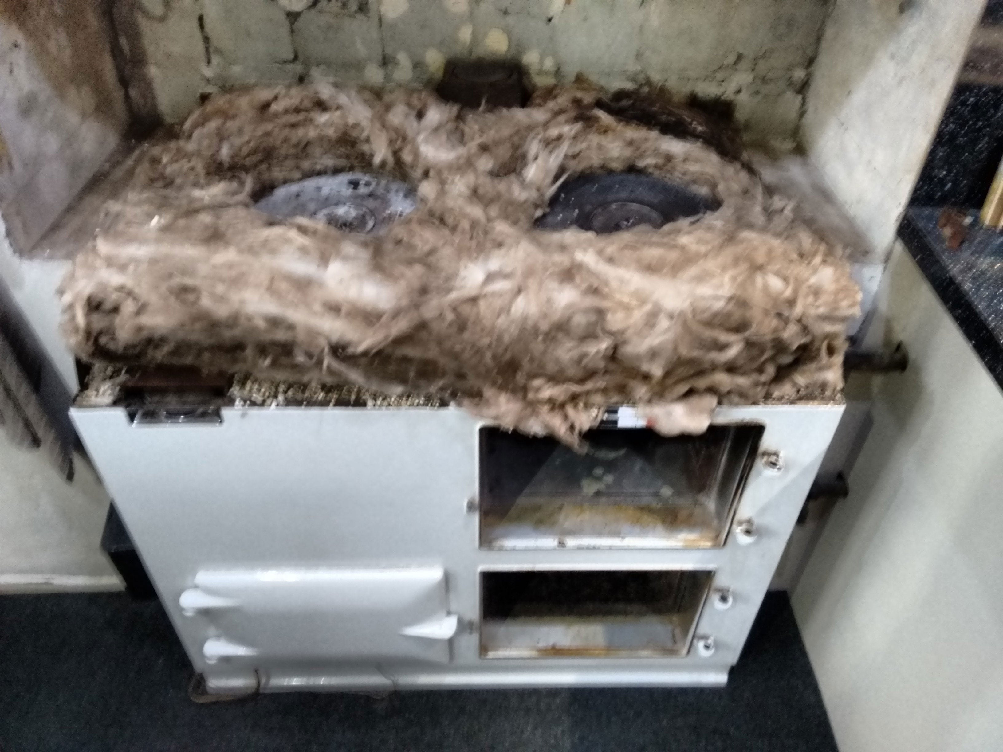 Re-insulated AGA range cooker with new rock wool and vermiculite
