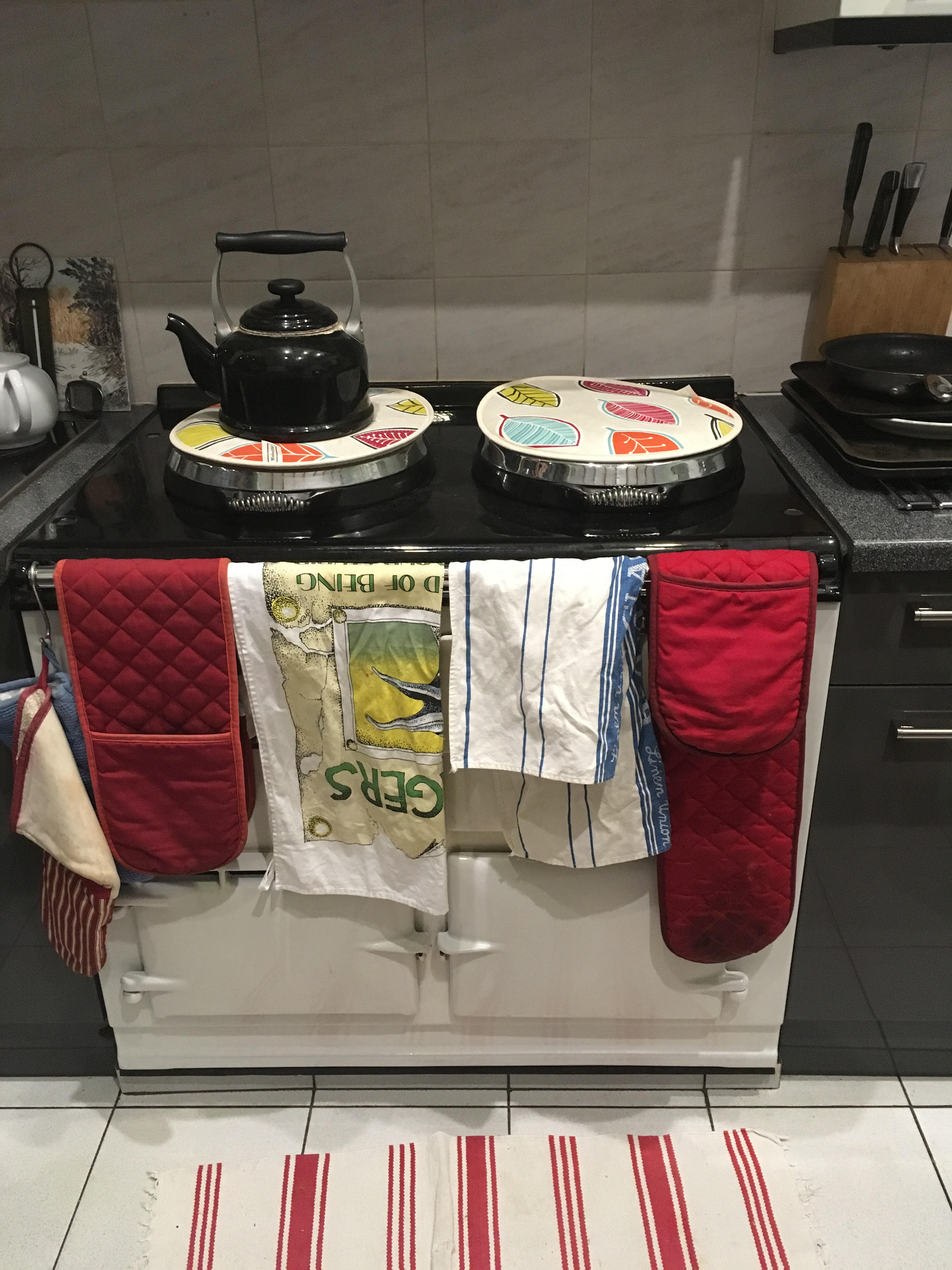 Aga drying tea towels